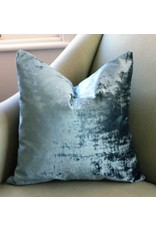 Ashley Meier Fine Linens Brussels Blue Velvet Pillow 21""