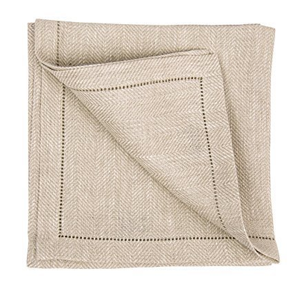 "Ashley Meier Fine Linens Emilia Linen Hemstitched 18"" Napkin - Natural"