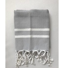 Scents and Feel Guest towel herringbone, Grey/White stripes