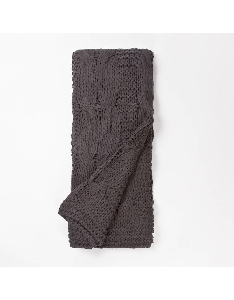 Amity Home Micah knitted cotton Throw Steel Grey