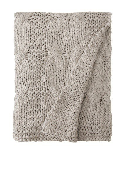 Amity Home Micah knitted cotton Throw Grey