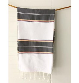 Medina Tablecloth/Throw, grey stripe with fringe