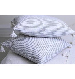 "Kesh pillow, white and grey thin stripe 15"" x 24"""