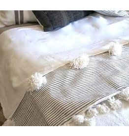 Kesh bed cover white with oversized Pom poms