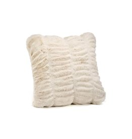 "Donna Saylers Fabulous Furs Faux Fur Couture Pillow 18"" Ivory Mink"