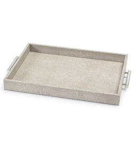 Regina Andrew Design Shagreen Rectangle Tray- Ivory Grey