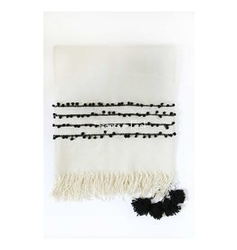 Scents and Feel Bicolor Pompoms Light Weight Wool, off white/black