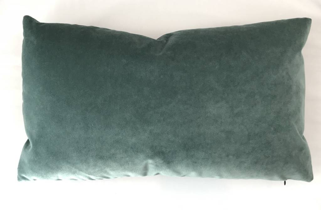 Ashley Meier Fine Linens AM Velvet Lumbar Pillow 14x24, Jade