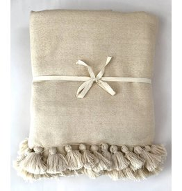 Scents and Feel Throw Light Weight Solid Color Wool Pompom, Beige