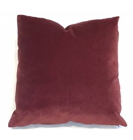 Ashley Meier Fine Linens AM Velvet Pillow 22x22, Currant