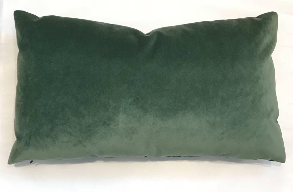 Ashley Meier Fine Linens AM Velvet Lumbar Pillow 14x24, Emerald