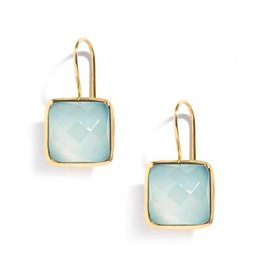 Roost Tiny Square Facet Aqua Chalcedony Earrings