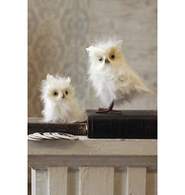 "Vintage Floral Imports 8"" Feathered Snowy Owl"