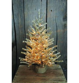 "Vintage Floral Imports 24"" Silver Pine Tree, Burlap Clear"