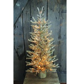 "Vintage Floral Imports 36"" Silver Pine Tree, Burlap Clear"