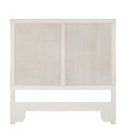 Phillips/Scott Regent Queen Cane Headboard-Shell White With Gold Accent