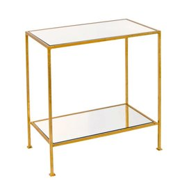 Worlds Away 2-Tier Gold Leafed Side Table