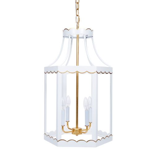 Old World Design Eloise Glossy White and Gold Lantern