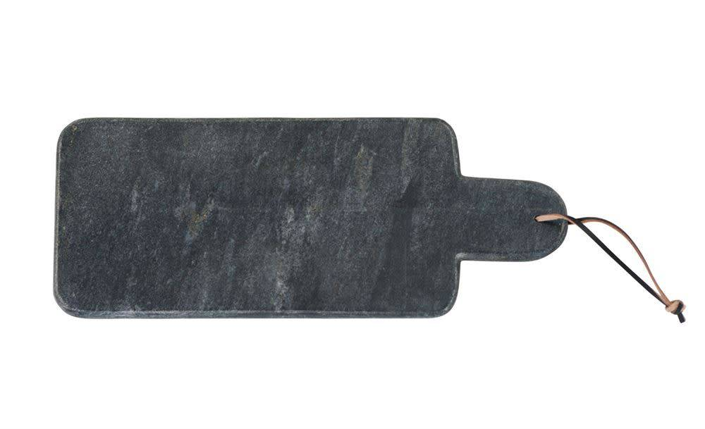 Marble Cutting Board W Handle Leather Tie Black