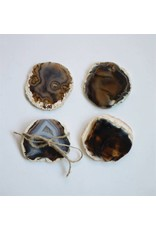 Round Agate Coasters, Brown, Set of 4