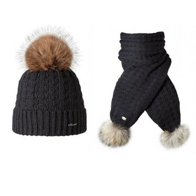 Filippa Beanie & Scarf Set 'Real Fur'