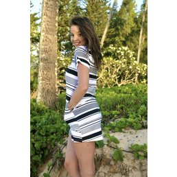 ava sky Ricci Dress Black Candy Stripe