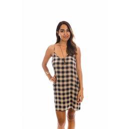 Acacia Flores Dress Blue Check