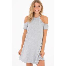 z supply Cold Shoulder S/S Dress Heather Grey