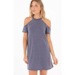 z supply Cold Shoulder S/S Dress Graphite