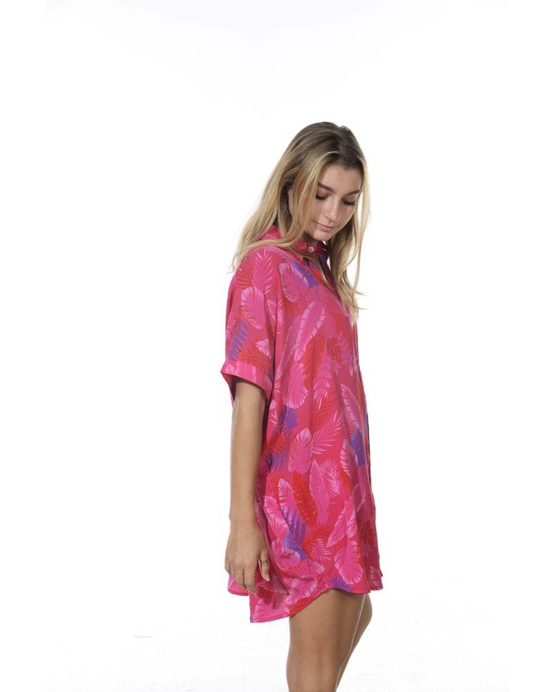 Acacia Mombasa Shirt Dress Psychedelic Leaf