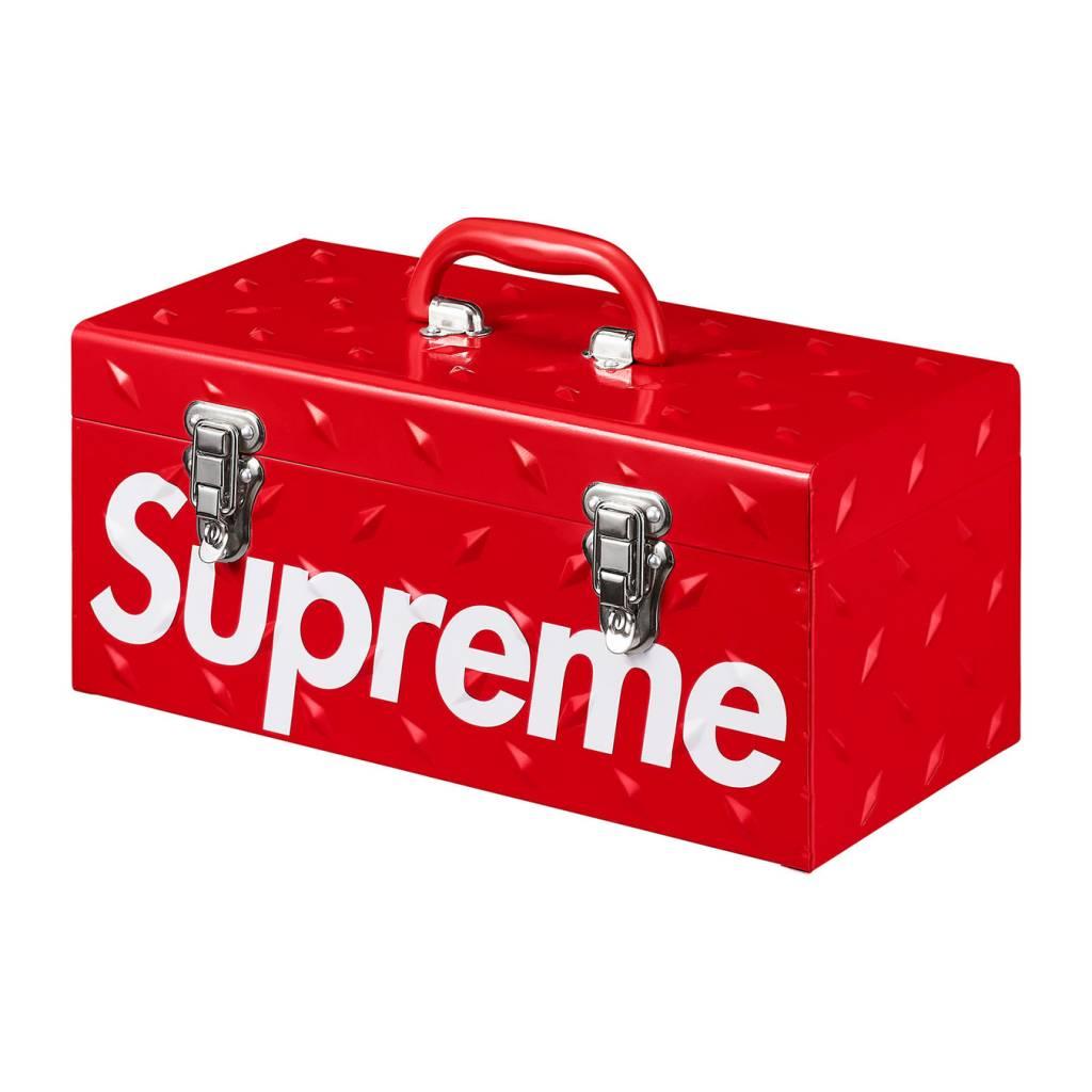 supreme diamond plate tool box (red)
