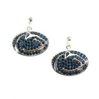 Seasons Jewelry Penn State Crystal Lionhead Dangle Earrings