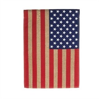 Evergreen Enterprises Burlap American Flag