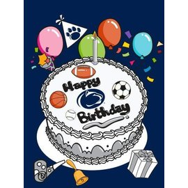 Sewing Concepts Birthday Cake Sport Version on Navy 30x40 Flag