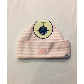 Creative Knitwear Stripe Newborn Hat Pink/White