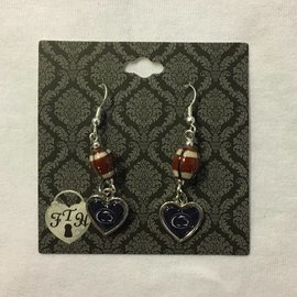 From The Heart Enterprises., Inc. Football and Heart Dangle Earrings