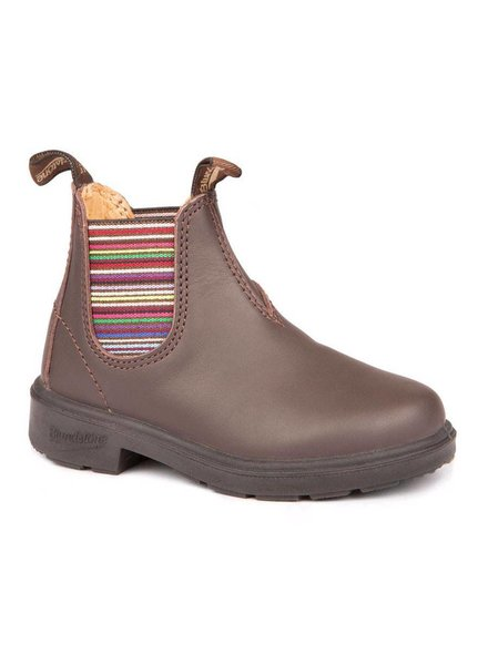 Blundstone Blundstone 1413 - Kid's Blunnies in Brown with Striped Elastic