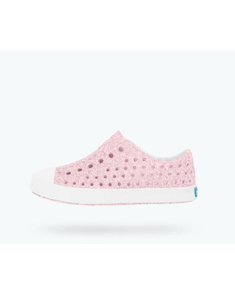Native Native Jefferson Bling Glitter-  MILK PINK/SHELL WHITE
