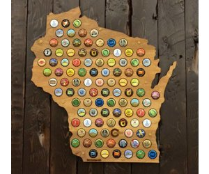 Beer Cap Maps Wisconsin Map Daiseye - Us beer cap map