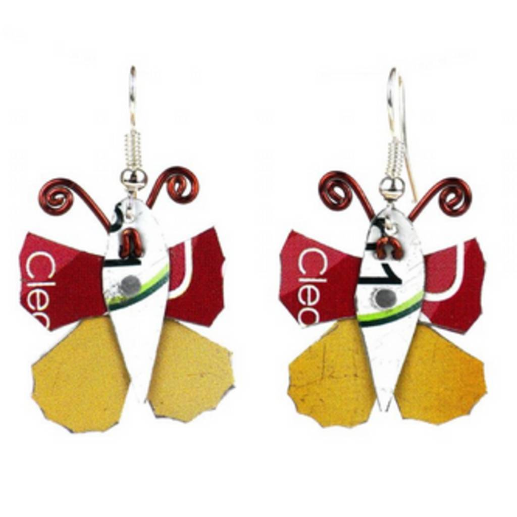 Global Crafts Tin Can Butterfly Earrings