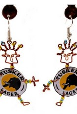 Global Crafts Tusker Bottlecap Earrings