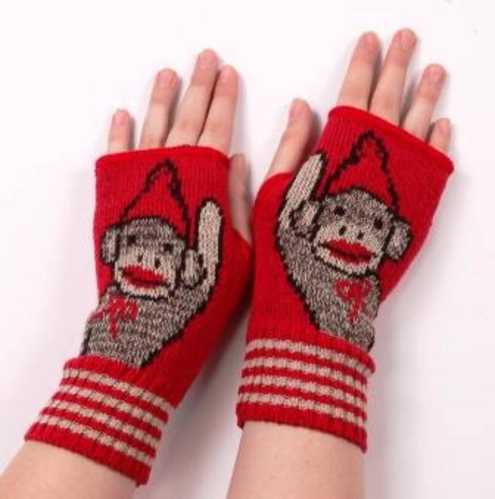 Green 3 Apparel Waving Sock Monkey Handwarmers