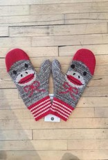 Green 3 Apparel Sock Monkey Smile Mittens