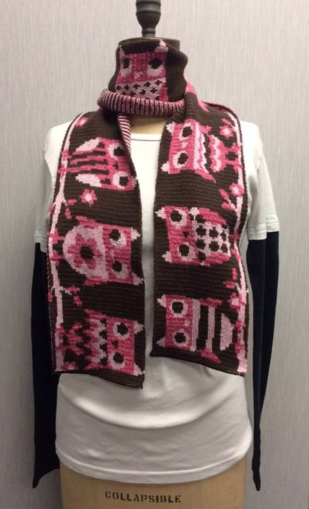 Green 3 Apparel Pink Owl Scarf