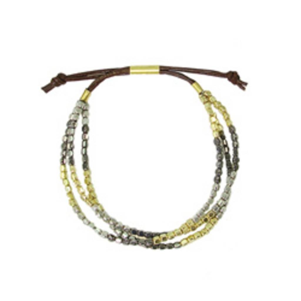 WorldFinds Metallic Triple Strand Bracelet