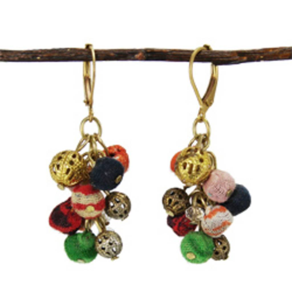 WorldFinds Kantha Cluster Earrings