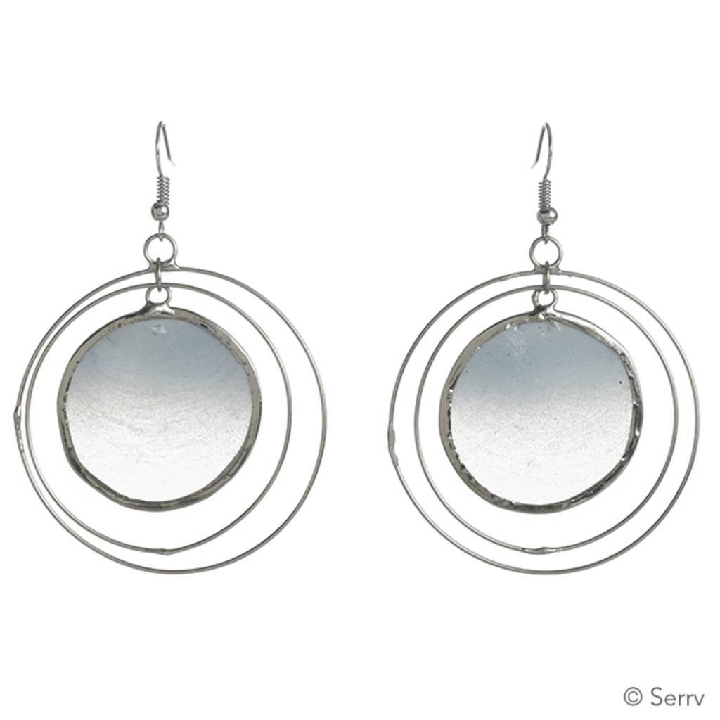 SERRV Blue Capiz Orbit Earrings