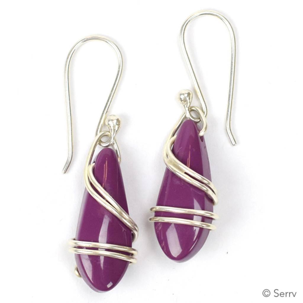 SERRV Wrapped plum drop Earrings