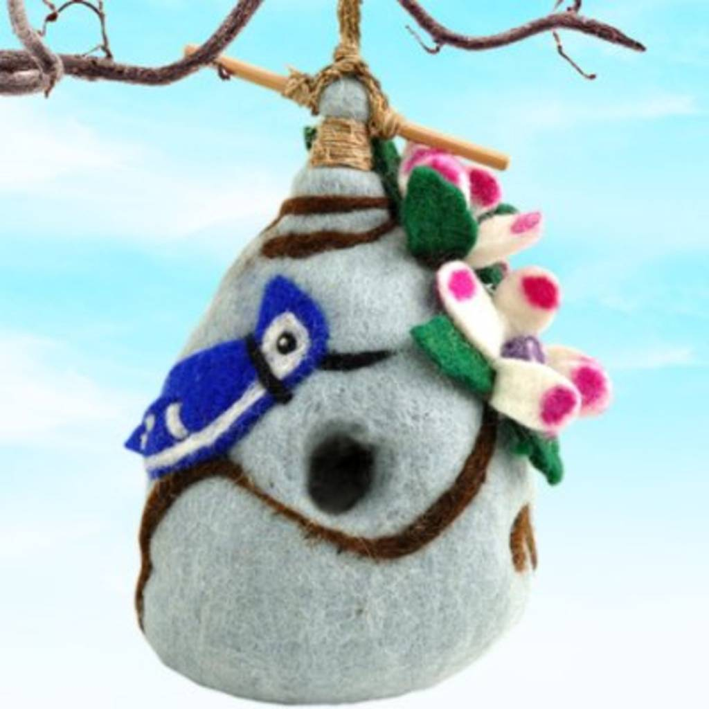 dZi Chinaberry Blue Jay Birdhouse