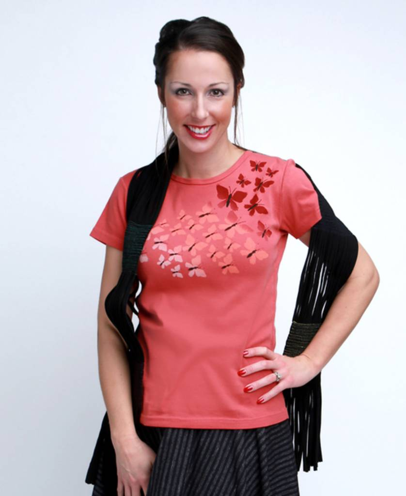 Green 3 Apparel Butterfly Tee Coral